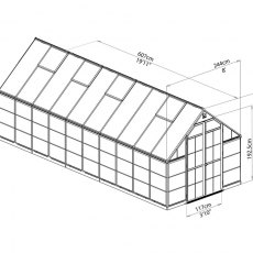 8 x 20 Palram Balance Greenhouse in Silver - dimensions
