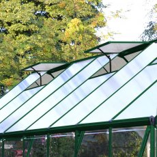 8 x 20 Palram Balance Greenhouse in Green - manual opening roof vents