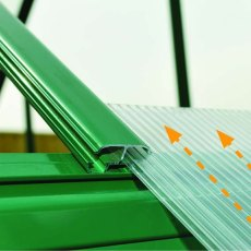 8 x 20 Palram Balance Greenhouse in Green - easy slide polycarbonate panels