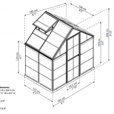 6 x 4 Palram Harmony Greenhouse in Silver - dimensions