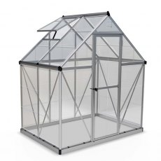 6 x 4 Palram Harmony Greenhouse in Silver - isolated view