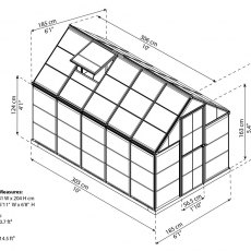 6 x 10 Palram Harmony Greenhouse in Silver - dimensions