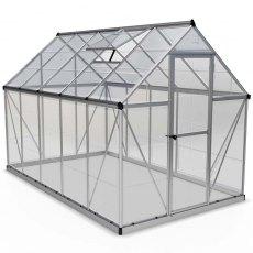 6 x 10 Palram Harmony Greenhouse in Silver - isolated view