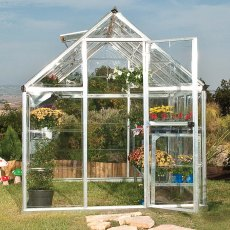 Palram Harmony Greenhouse in Silver - single hinged door