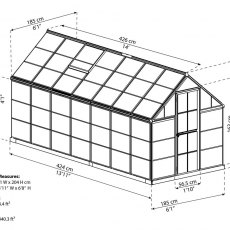 6 x 14 Palram Harmony Greenhouse in Silver - dimensions