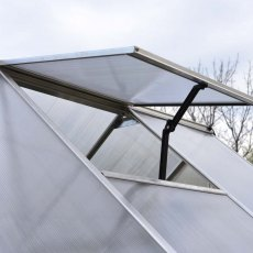 8 x 12 Palram Essence Greenhouse in Silver - manual opening roof vent