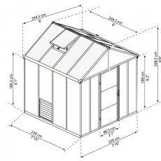 8 x 8 Palram Glory Greenhouse in Anthracite - dimensions