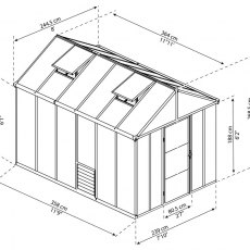 8 x 12 Palram Glory Greenhouse in Anthracite - dimensions
