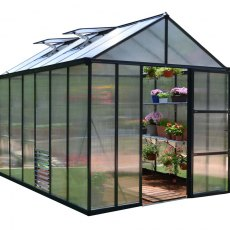 8 x 12 Palram Glory Greenhouse in Anthracite - isolated view