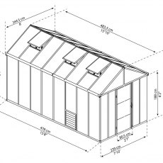 8 x 16 Palram Glory Greenhouse in Anthracite - dimensions