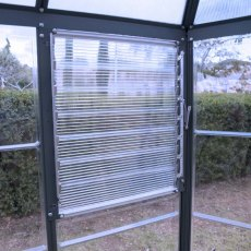 8ft Palram Oasis Hexagonal Greenhouse in Grey - manual louvre vent