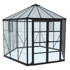 12ft Palram Oasis Hexagonal Greenhouse in Grey - isolated view