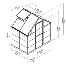 6 x 4 Palram Hybrid Greenhouse in Green - dimensions
