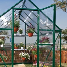 6 x 4 Palram Hybrid Greenhouse in Green - hinge opening single door