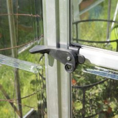 Palram Hybrid Greenhouse in Silver - door handle can be locked with a padlock