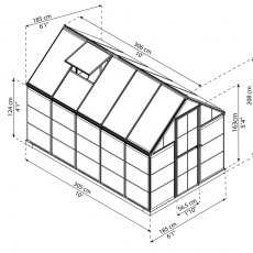 6 x 10 Palram Hybrid Greenhouse in Silver - dimensions