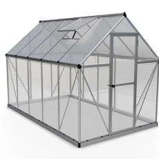 6 x 10 Palram Hybrid Greenhouse in Silver - isolated view
