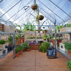 Palram Hybrid Greenhouse in Silver - interior with optional shelving unit