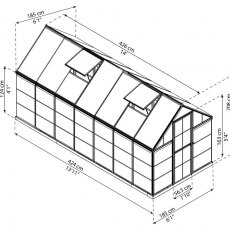 6 x 14 Palram Hybrid Greenhouse in Green - dimensions
