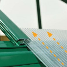 Palram Hybrid Greenhouse in Green - easy slide polycarbonate panels
