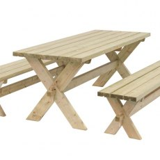 Grange Classic Garden Table and Bench Set - isolated view