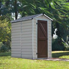 4 x 6 Palram Skylight Plastic Apex Shed - Tan -  with background and door closed
