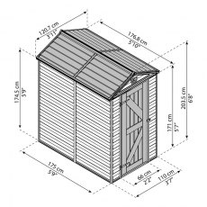 4 x 6 Palram Skylight Plastic Apex Shed - Tan - schematic drawing