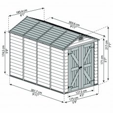 6x10 Palram Skylight Plastic Apex Shed - Tan - diagram