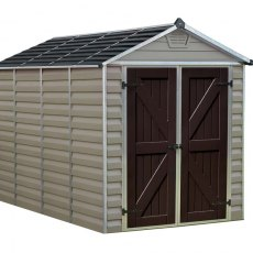 6x10 Palram Skylight Plastic Apex Shed - Tan - white background