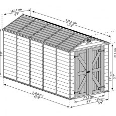 6x12 Palram Skylight Plastic Apex Shed - Tan - diagram
