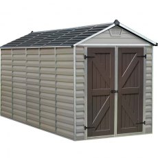 6x12 Palram Skylight Plastic Apex Shed - Tan - isolated