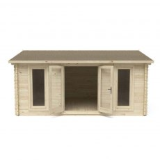 13G x 16 (4.00m x 5.00m) Forest Rushock Log Cabin 45mm Logs