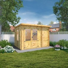 3.5m x 2.4m (10ft 10inG x 7ft 3in) Mercia Delamere Log Cabin with Side Store - 19mm Logs
