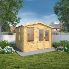 2.6m x 3.3m (10ft 2inG x 7ft 10in) Mercia Log Cabin - 19mm Logs