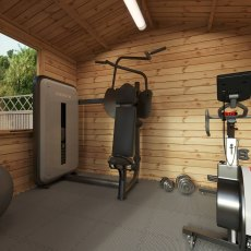 2.6m x 3.3m Mercia Log Cabin 19mm Logs - home gym