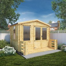 3.3m x 3.4m Mercia Log Cabin with Veranda 19mm Logs