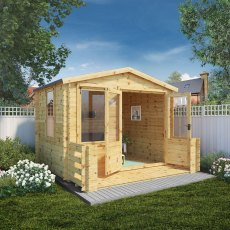 3.3m x 3.4m Mercia Log Cabin with Veranda 19mm Logs - open doors
