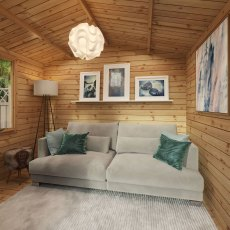 3.3m x 3.4m Mercia Log Cabin with Veranda 19mm Logs - fully furnished