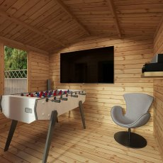 3.3m x 3.4m Mercia Log Cabin with Veranda 19mm Logs - games room