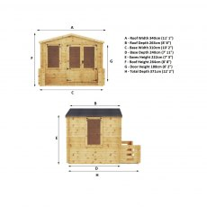 3.3m x 3.4m Mercia Log Cabin with Veranda 19mm Logs - home gym