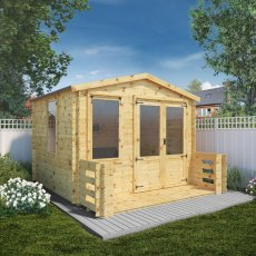 3.3m x 3.7m (10ft 2inG x 11ft 4in) Mercia Log Cabin with Veranda - 19mm Logs