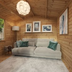 3.3m x 3.7m Mercia Log Cabin with Veranda 19mm Logs - home office