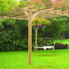 Forest Ultima Pergola - Pressure Treated - shown with garden accessories