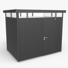 9 x 6 Biohort HighLine H2 Metal Shed - Single Door - Metallic Dark Grey