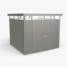 9 x 9 Biohort HighLine H4 Metal Shed - Double Door - Metallic Quartz Grey