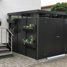 9 x 9 Biohort HighLine H4 Metal Shed - Double Door - Customer image with plants