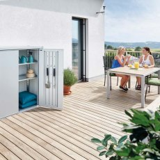 Biohort Patio Romeo Locker - Medium - In situ with people at table