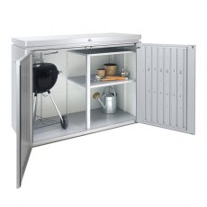 5 x 2 Biohort HighBoard 160 - Metallic Silver internal shelving with bbq