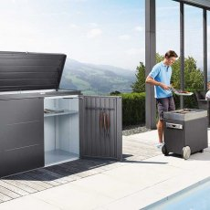 5 x 2 Biohort HighBoard 160 - Metallic Dark Grey in situ with BBQ