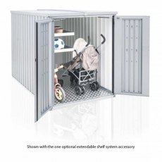 4 x 7 Biohort MiniGarage - Metallic Silver with doors open showing pram and shelving